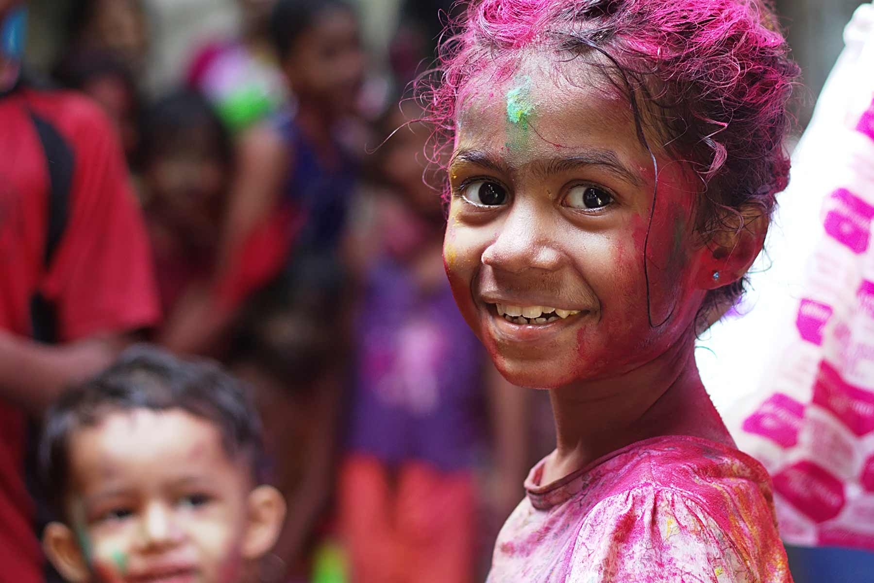 happy smiling little girl from India